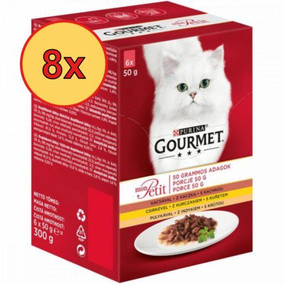 8x Gourmet Mon Petit Kacsával, Csirkével, Pulykával 6x50g