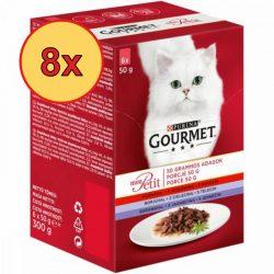 8x Gourmet Mon Petit Marhával, Borjúval, Báránnyal 6x50g