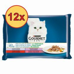 12x Gourmet Perle 4x85g Borjú + Vad + Marha + Pisztráng + Zöldség Szószban Alutasak