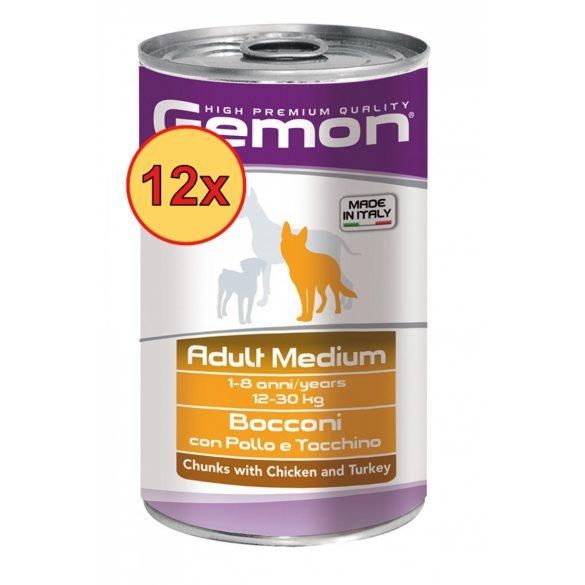 12x Gemon Dog Médium Pulyka+Csirke 1250g