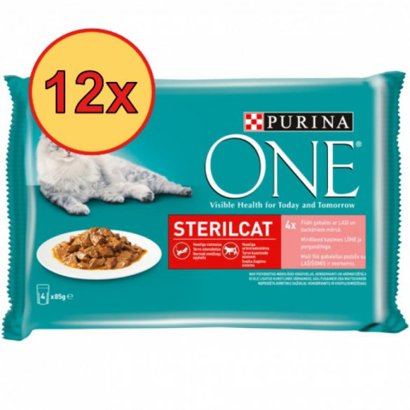 12x Purina One STERILCAT Lazaccal és Sárgarépával alutasakos macskaeledel 4x85g