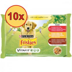 10x Friskies Dog Adult aszpikos Alutasakos kutyaeledel 4x100g