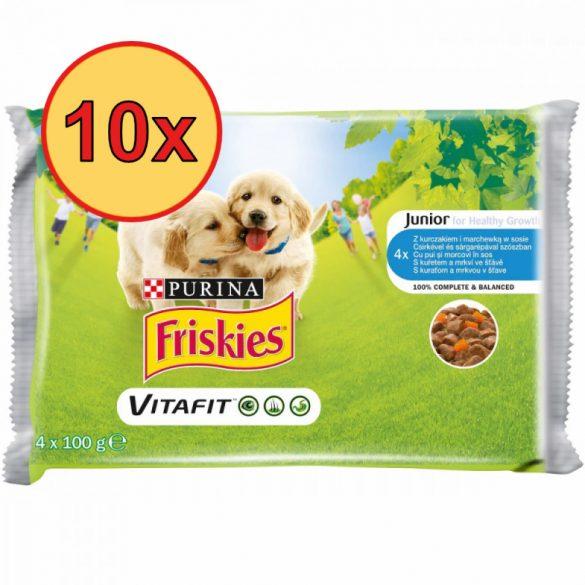 10x Friskies Dog Junior Csirke + Sárgarépa szószban Alutasakos kutyaeledel 4x100g