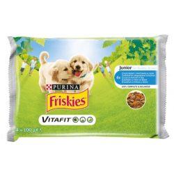Friskies Dog Junior Csirke + Borsó aszpikban Alutasakos kutyaeledel 4x100g