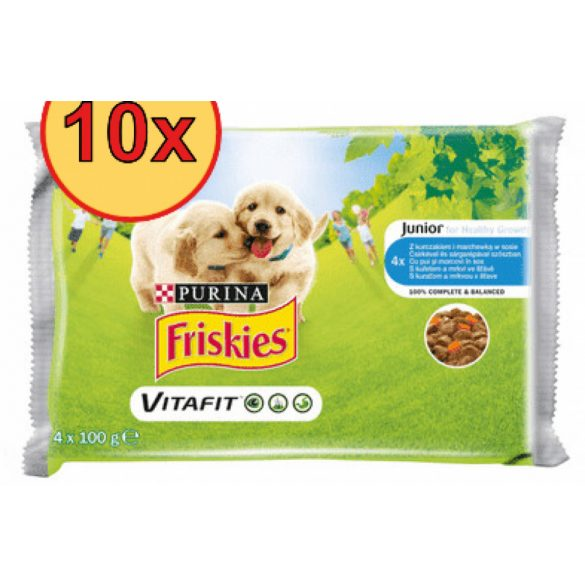 10x Friskies Dog Junior Csirke + Borsó aszpikban Alutasakos kutyaeledel 4x100g