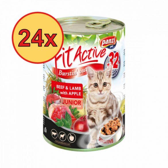 24x FitActive CAT 415g konzerv Junior Marha+Bárány