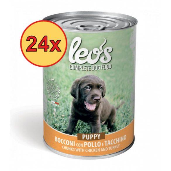 24x Leo's kutyakonzerv 415g Puppy Csirke-Pulyka