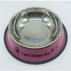 Etetőtál - rózsaszín oldalú, fém 26cm 1000ml