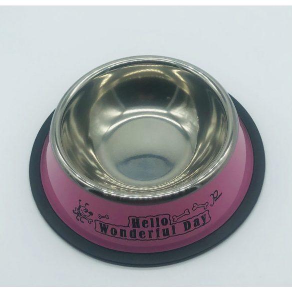 Etetőtál - rózsaszín oldalú, fém 18cm 300ml