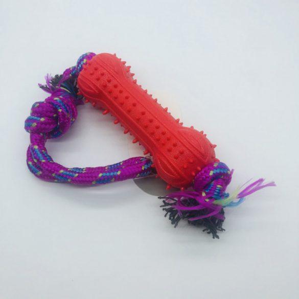 Gumicsont 13cm, kötéllel - kutyajáték - PIROS