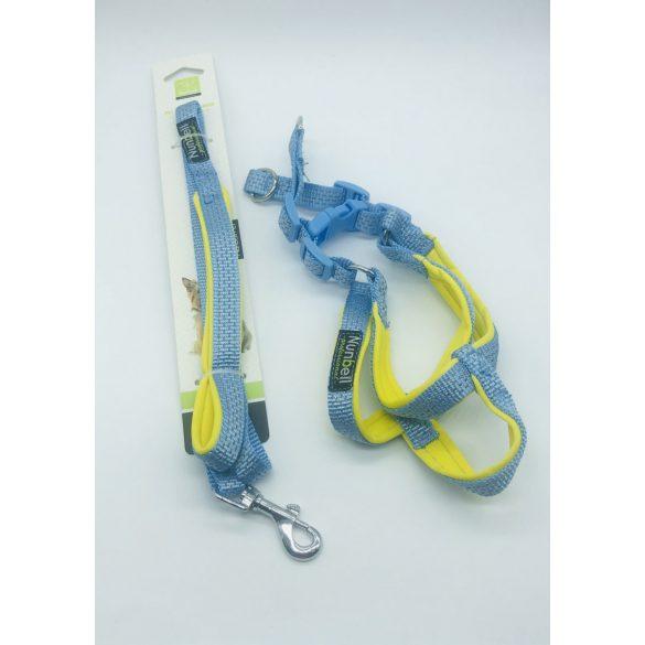 Kutyahám szett, neoprén béléssel - kb. 60-70cm körméret + 3x110cm póráz KÉK