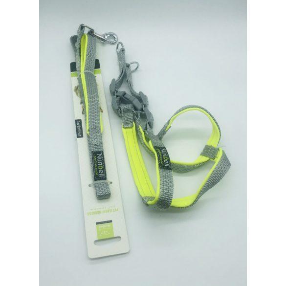 Kutyahám szett, neoprén béléssel - kb. 60-70cm körméret + 3x110cm póráz SZÜRKE