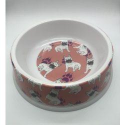 Etetőtál - rózsaszín bulldogos mintával, műanyag, 26cm 1400ml
