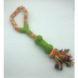 Csomózott kötél csonttal - sárga+szürke+narancs