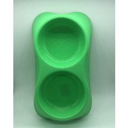 Dupla etetőtál - ZÖLD, műanyag, 34x18cm 2x500ml
