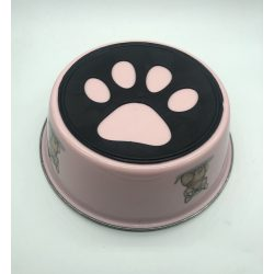Etetőtál - rózsaszín, fém, tappancsos gumi talppal 20cm 1200ml