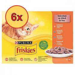 6x Friskies 12x85g Sárga Csirke + Kacsa + Lazac + Pulyka Alutasak