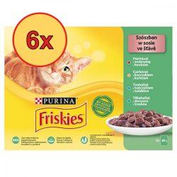 6x Friskies 12x85g Zöld Marha + Csirke + Tonhal + Tőkehal Alutasak