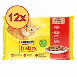 12x Friskies 4x85g Piros Csirke + Marha + Bárány + Kacsa  Alutasak