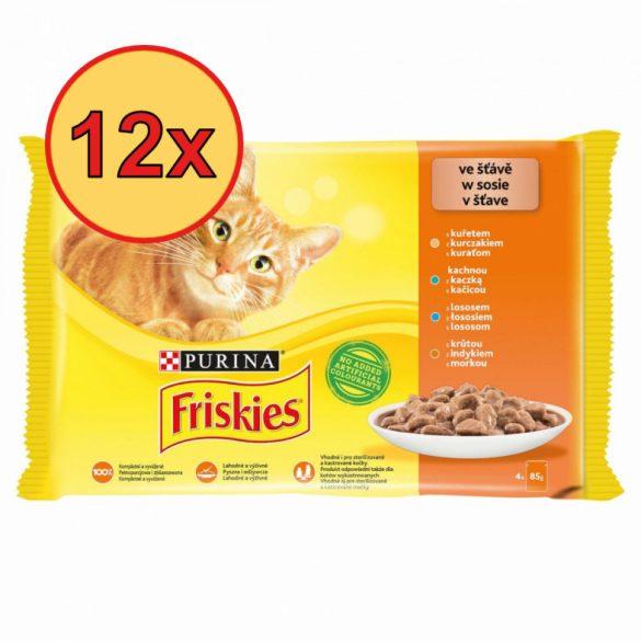 12x Friskies 4x85g Sárga Csirke + Kacsa + Lazac + Pulyka Alutasak