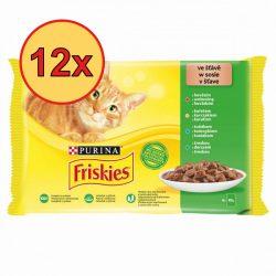 12x Friskies 4x85g Zöld Marha + Csirke + Tonhal + Tőkehal  Alutasak