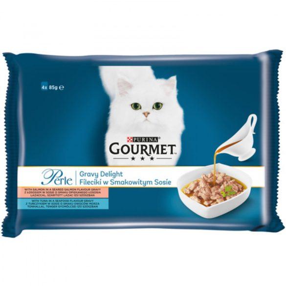 Gourmet Perle 4x85g Lazac + Tonhal Szószban Alutasak