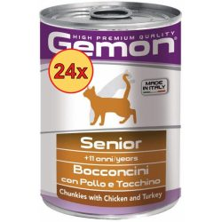 24x Gemon Cat 400g Senior Csirke + Pulyka